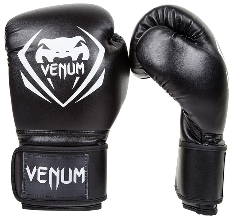 Venum Contender Boxing Gloves Color Black Front and Side View