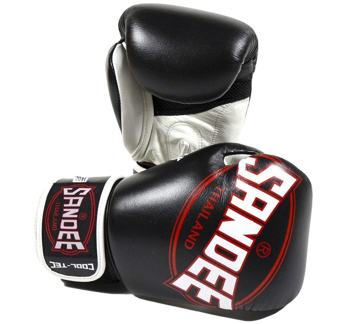 Sandee Cool-Tec Leather Boxing Gloves - Black/White