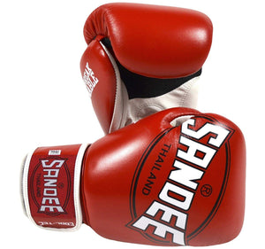 Sandee Cool-Tec Leather Boxing Gloves - Red/White
