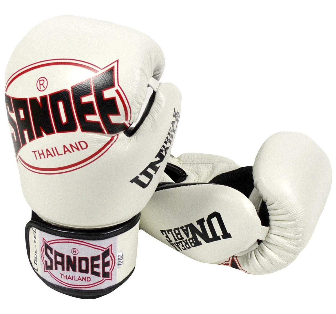 Sandee Cool-Tec Leather Boxing Gloves - White/Black