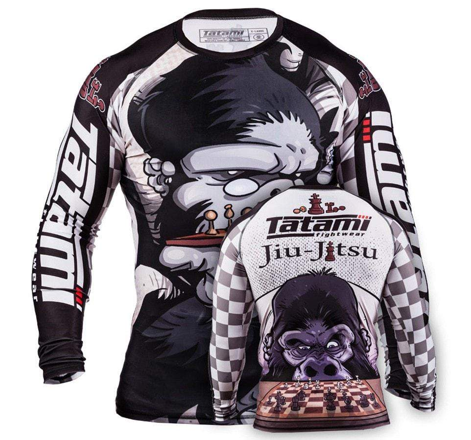 Tatami Chess Gorilla Long Sleeve Rash Guard Front and Back