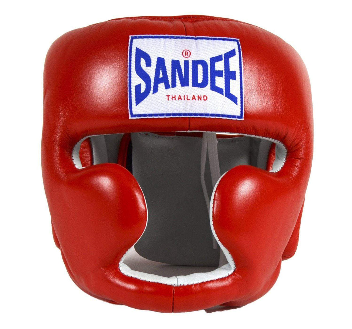 Sandee Closed Face Synthetic Leather Headgear - Red