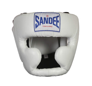 Sandee Closed Face Synthetic Leather Headgear - White
