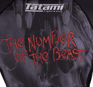 Tatami x Iron Maiden Number of the Beast Rash Guard - Back Closeup