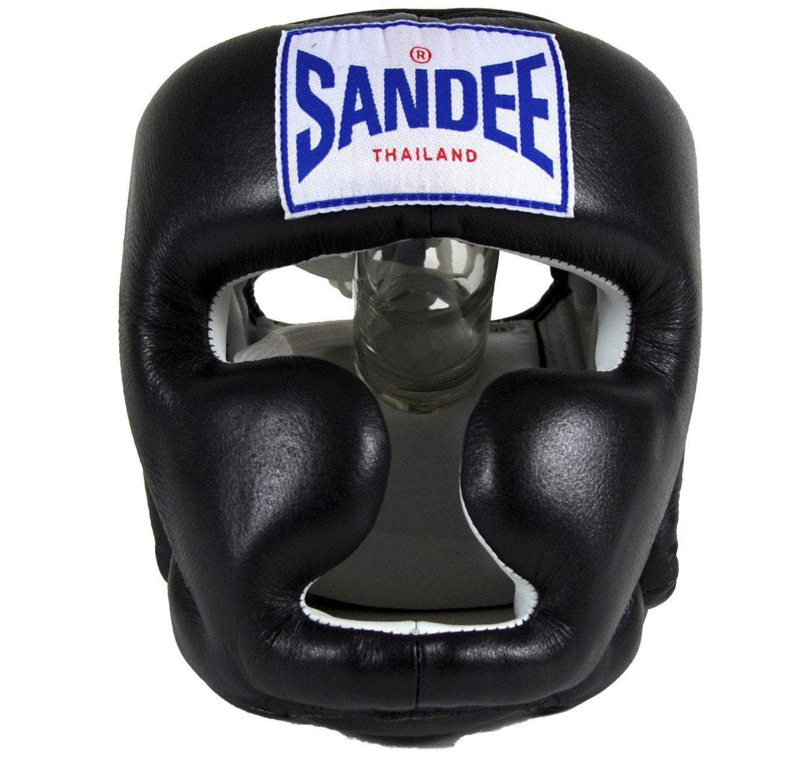 Sandee Closed Face Leather Headgear - Black