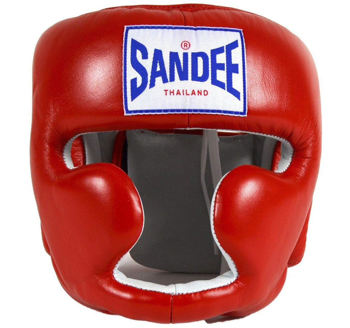 Sandee Closed Face Leather Headgear - Red