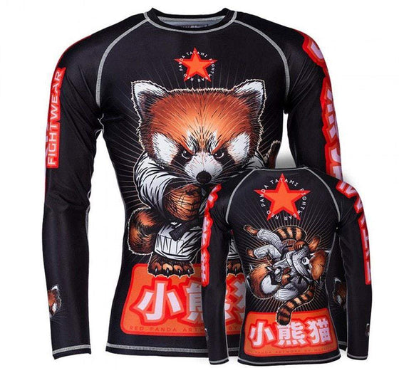 Tatami Red Panda Long Sleeve Rash Guard Front and Back