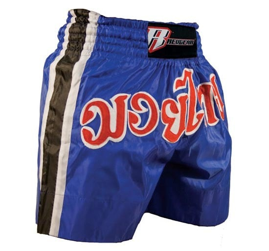 Revgear Satin Muay Thai Shorts Color Blue Front View