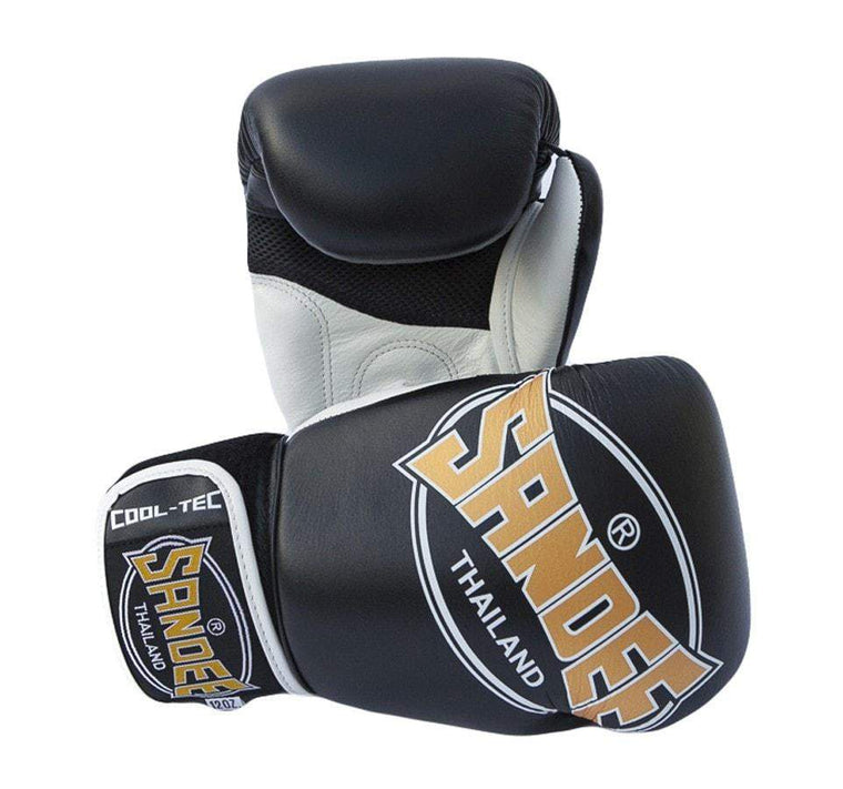 Sandee Junior Cool-Tec Synthetic Leather Boxing Gloves - Black/Gold