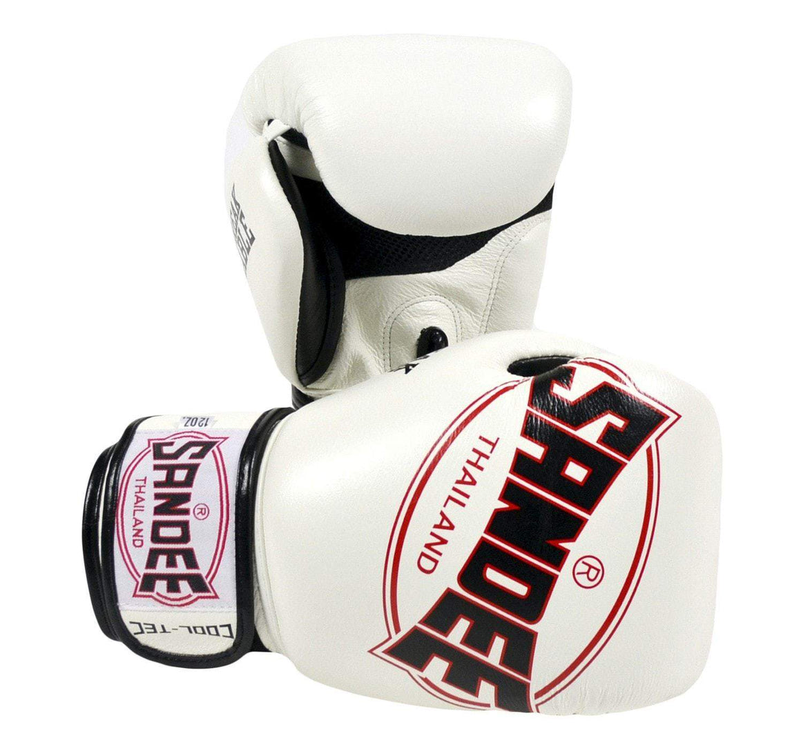Sandee Junior Cool-Tec Synthetic Leather Boxing Gloves - White/Black
