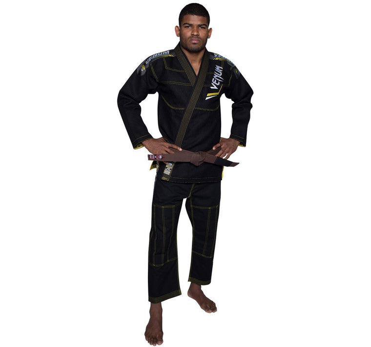 Venum Elite BJJ Gi Color Black/Yellow Front and Rear Pose