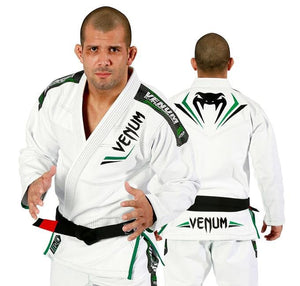 Venum Elite BJJ Gi - White/Green - Front and Back