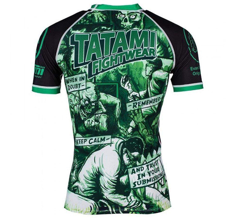 Tatami The Zombie Hunter Rash Guard Front and Back