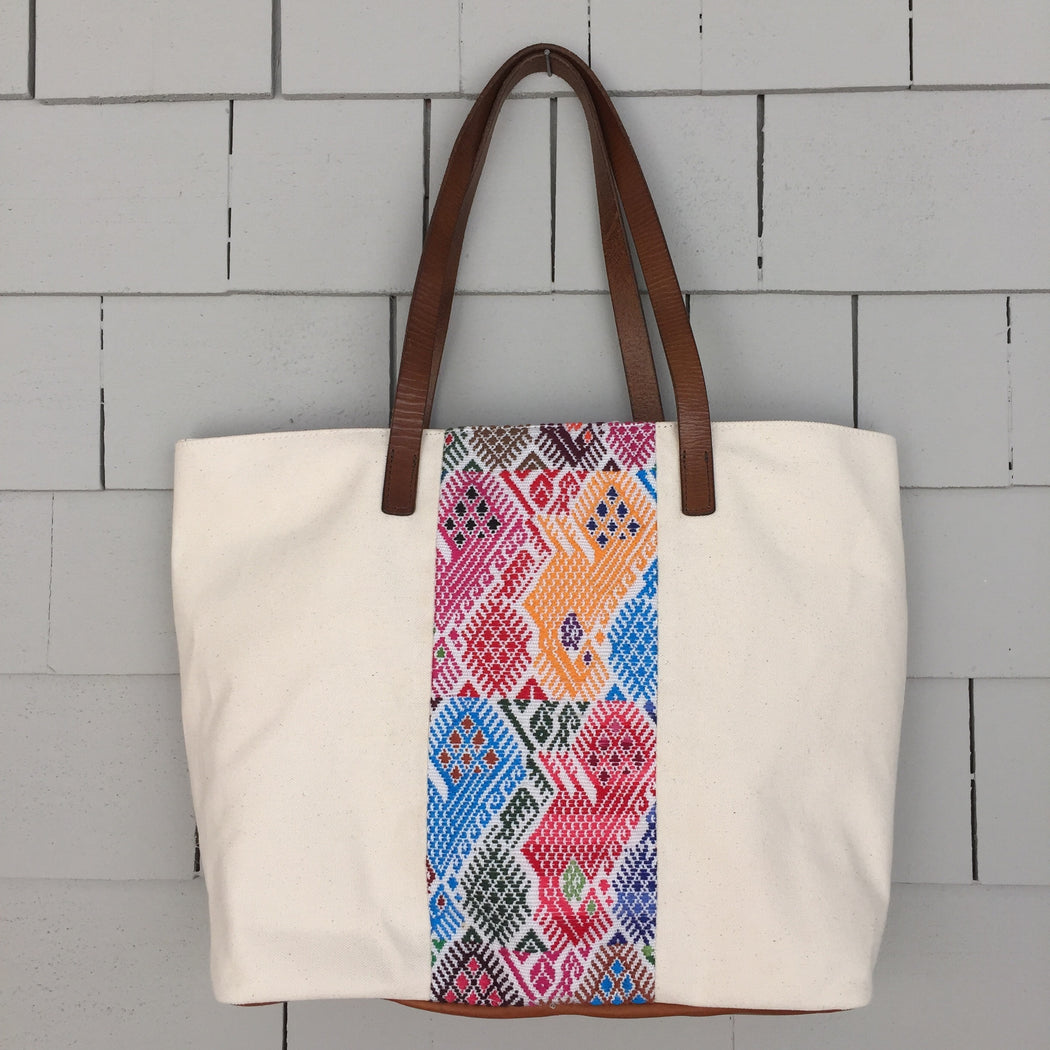 White Canvas Tote - Guatemalan Handbags // JOJI