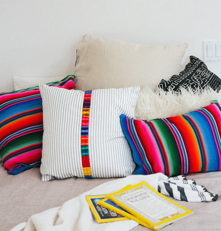 White Striped Woven Pillow (18 x 18) - Guatemalan Handbags // JOJI
