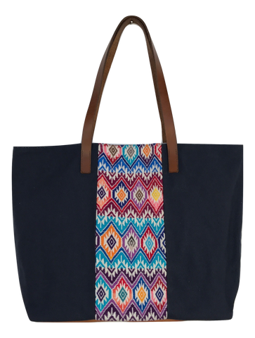 Navy Canvas Tote - Guatemalan Handbags // JOJI