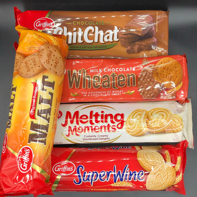MEGA NZ BISCUIT PACK! 5x Griffin's Biscuits including: Chocolate Chit Chat, Malt, Super Wine, Melting Moments, & Milk Chocolate Wheaten Biscuits (NZ)