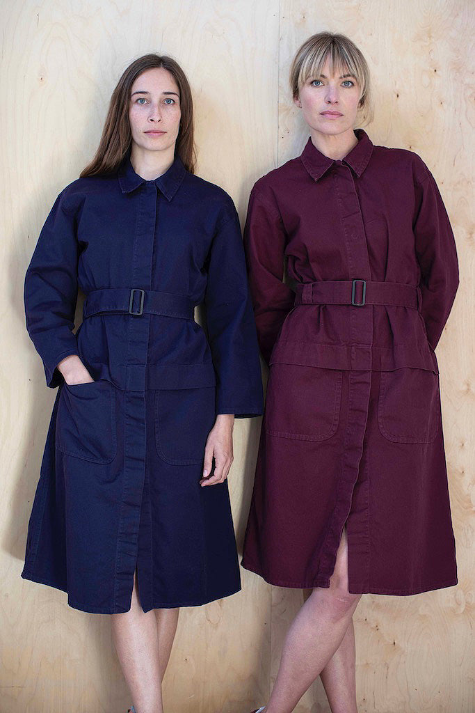 Navy and Maroon Cotton Drill