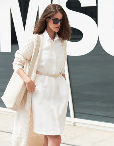 Mila.Vert Styling tips: White trench shirt dress