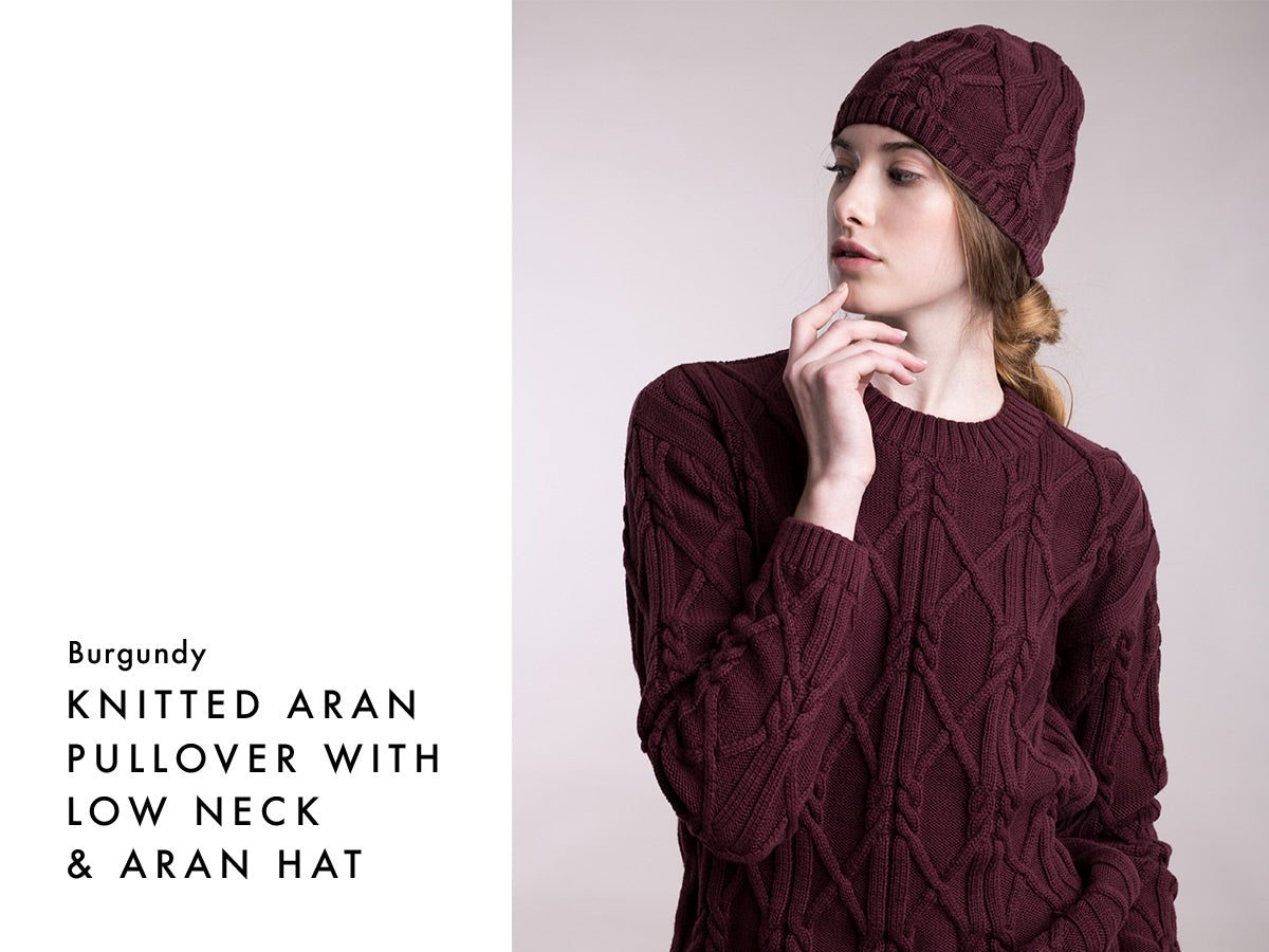 Aran vegan jumper - burgundy