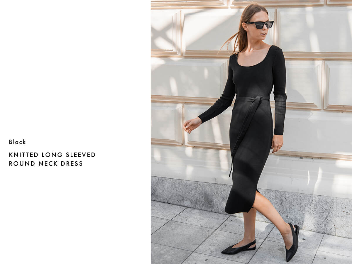 Organic cotton black knitted dress