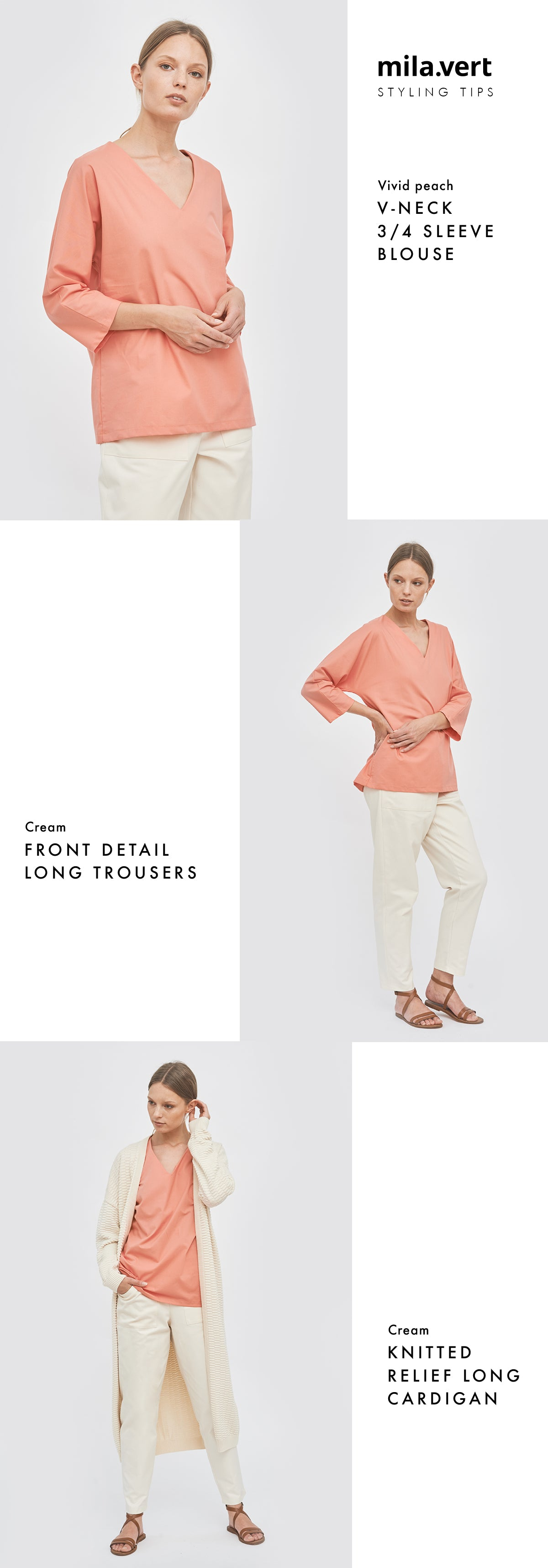 Sustainable summer layered look with vivid peach blouse