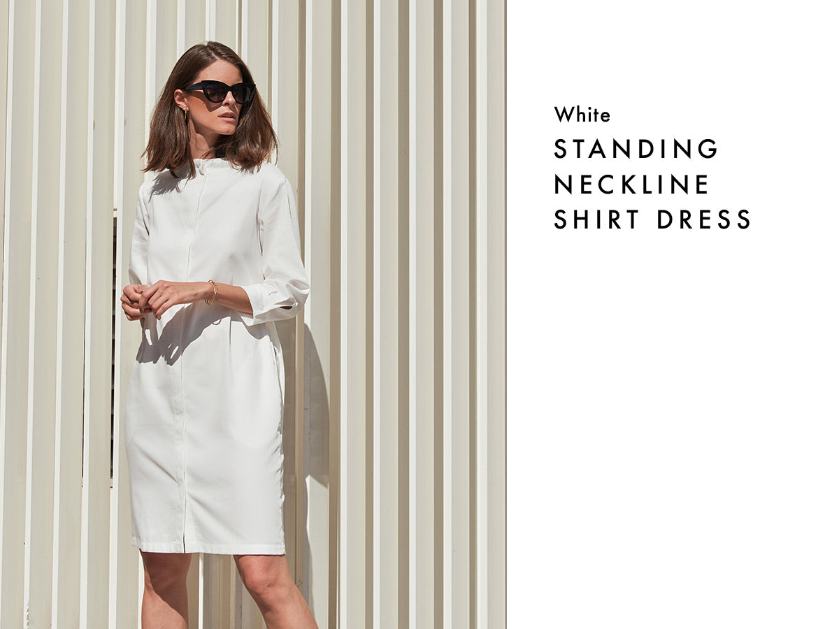 Sustainable shirt dress in white