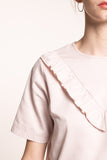 Blouse with ruffles - sateen fabric