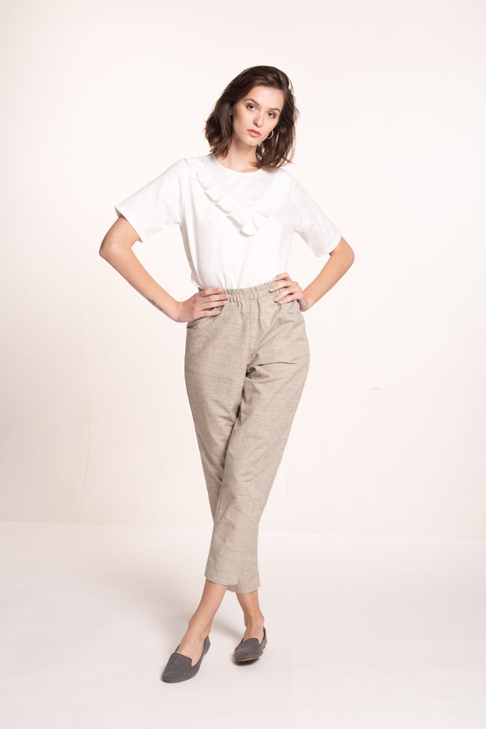 Sustainable Crossweave front detail long trousers _ Mila.Vert