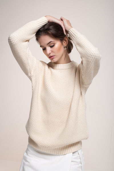 "Sustainable Knitted ""rice cubes"" pullover - low neck _ Mila.Vert"