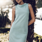 Standing collar dress in mint