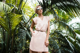 Linen V-neck dress in apricot
