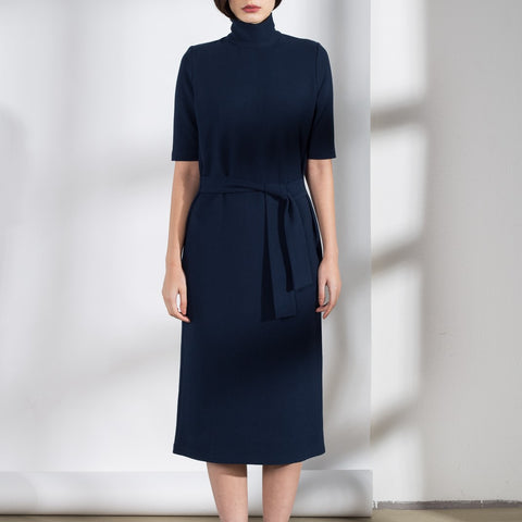 High-neck rib cotton dress