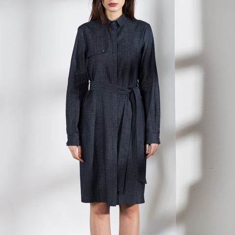 Trench shirt dress/coat in dark blue denim