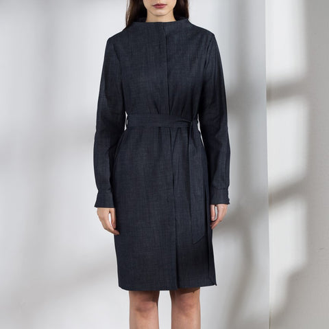 Standing neckline shirt dress/coat in dark blue denim