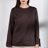 Chocolate brown sateen blouse