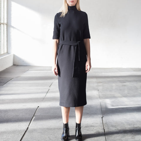 High-neck rib cotton dress in black
