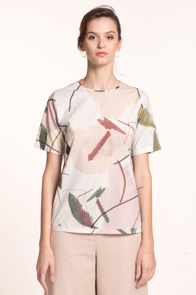 Sustainable Printed short sleeve blouse _ Mila.Vert