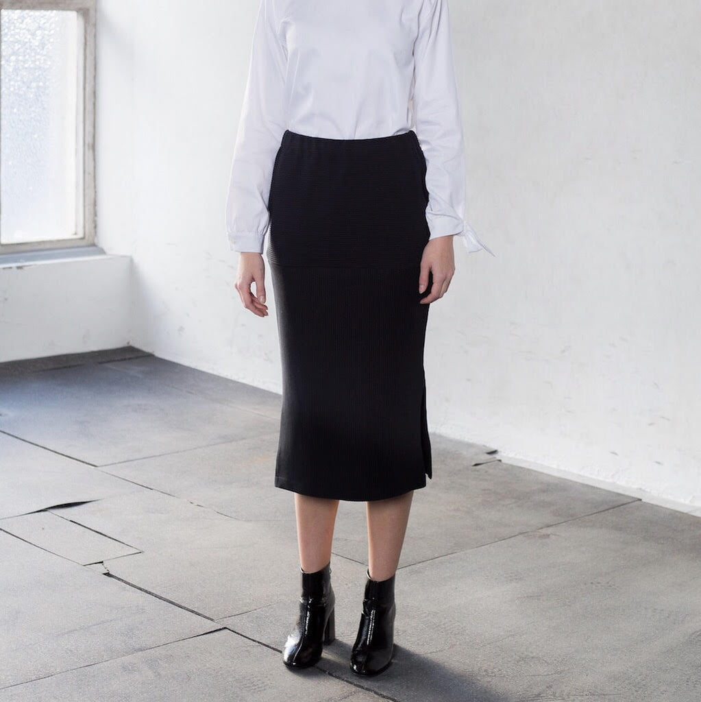 Rib cotton skirt with elastic waist