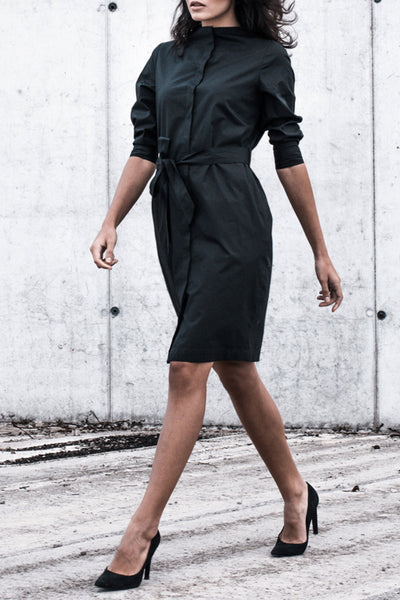 Sustainable Standing neckline shirt dress _ Mila.Vert