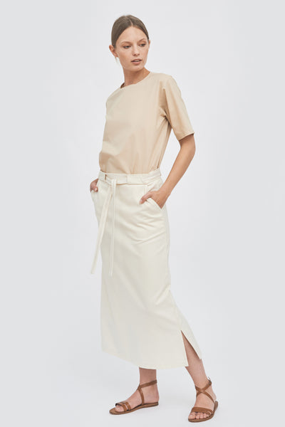 Sustainable Skirt with a golden linen belt _ Mila.Vert