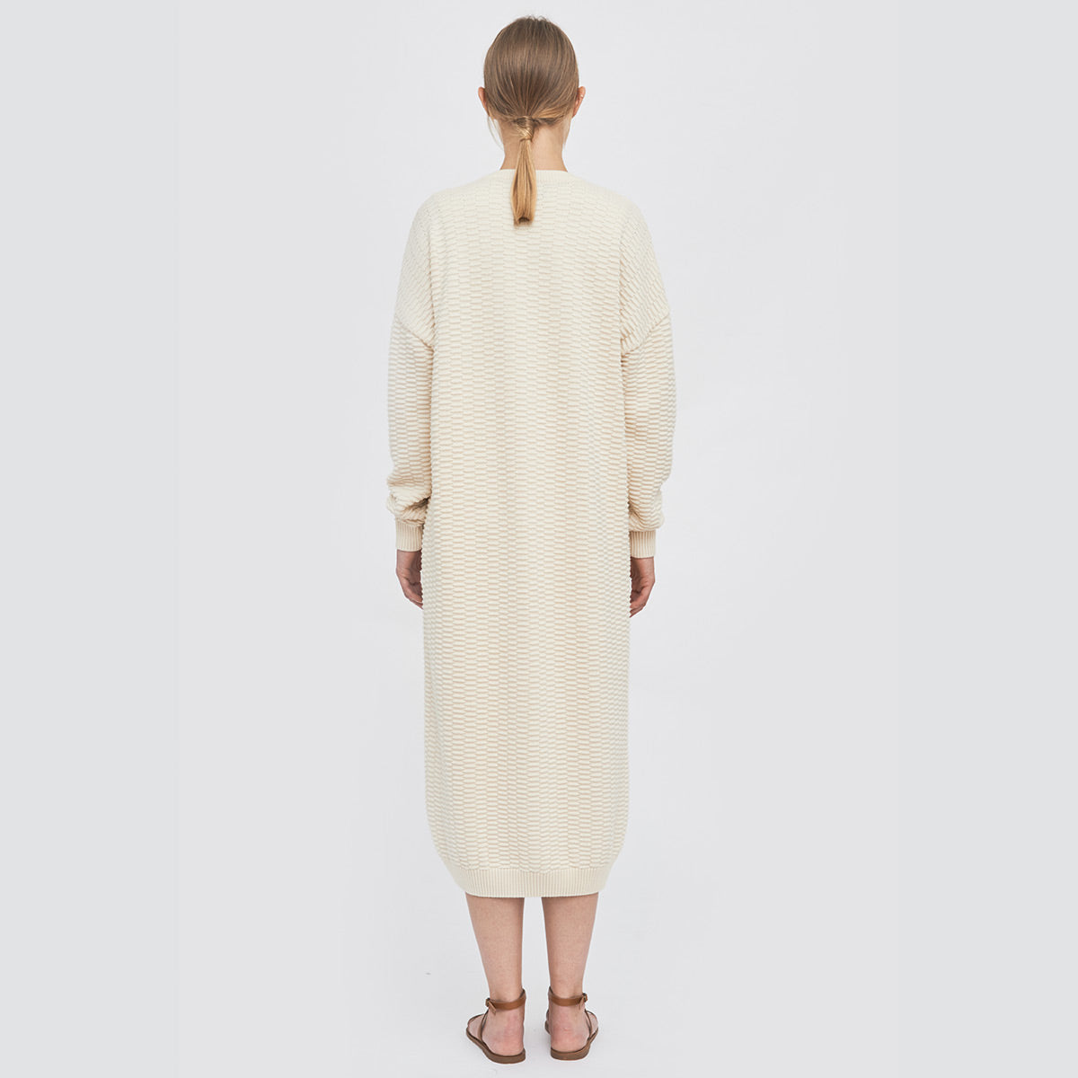 Sustainable Knitted relief long cardigan _ Mila.Vert