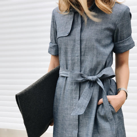 Trench shirt dress in light blue denim