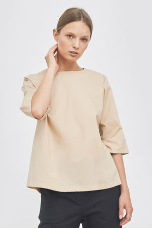 Sustainable Round neckline A-line blouse _ Mila.Vert