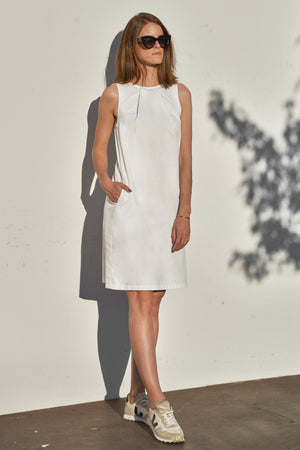 Sateen pleat dress