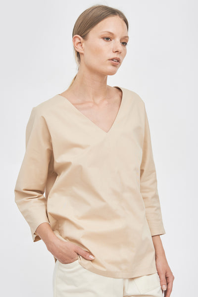 Sustainable V-neck 3/4 sleeve blouse _ Mila.Vert