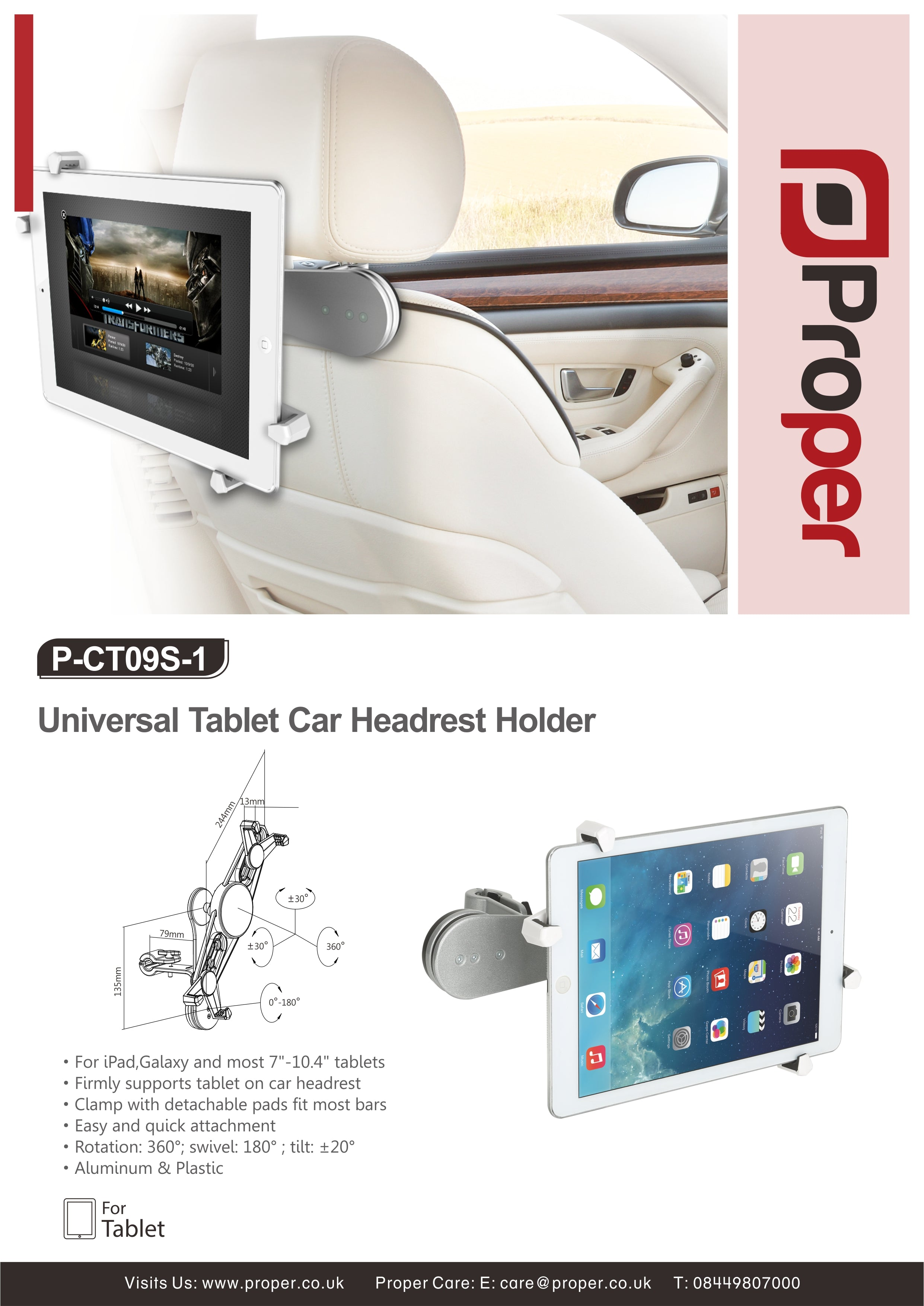 Proper Universal Car Tablet Headrest Holder For Ipad