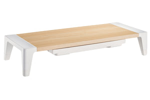 Monitor Riser Height Adjustable Stand with Drawer - Wood Effect