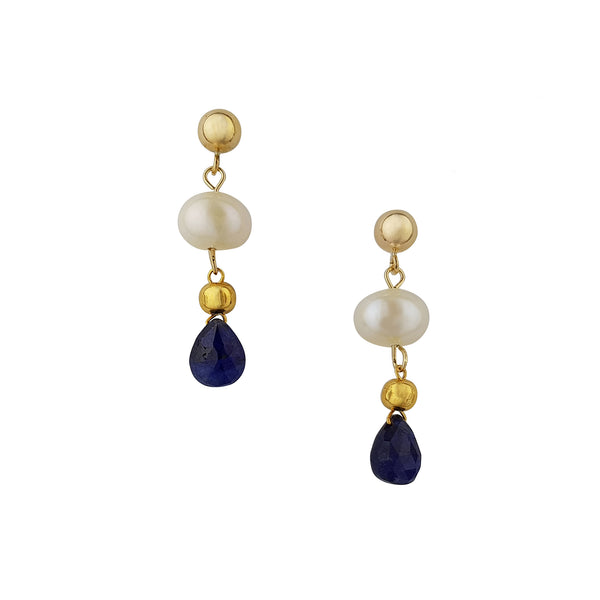 Gold Pearl Sapphire Earrings