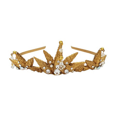 Gold Crystal Seashell Tiara